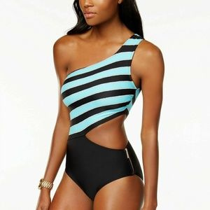 Michael Kors One Shoulder Rope Rugby Swimsuit